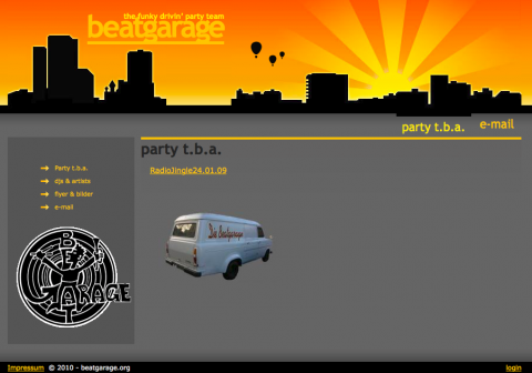 Party project Website: the funky driv'in Beatgarage